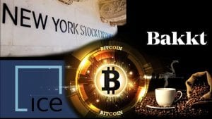 Logo of Bitcoin, New York Stock Excahnge, Bakkt, and coffee grounds