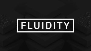White Fluiditiy company logo with black background