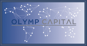 Olymp Capital company logo with globe connected with dots in background