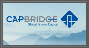 CapBridge logo with foggy mountains in background