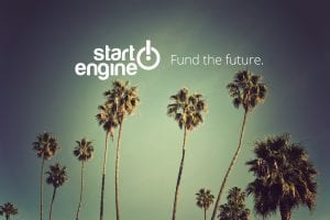 Photo of palm trees, with sky in background and StartEngine company logo