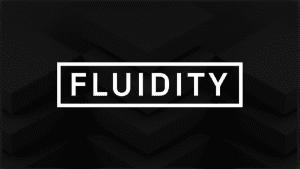 fluidity company logo with black background