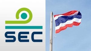 Thai flag waving in the wind next to a logo of the Thai SEC