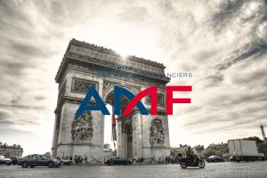 Arc de Triomphe in Paris, France, with AMF logo