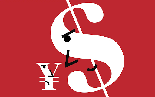 Illustration of personified Dollar and Yen currency symbols in conflict