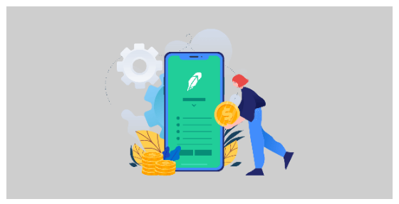 Illustration of a woman standing beside a large cellphone and retrieving bitcoin from the Robinhood app