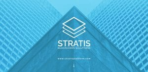 Stratis Blockchain Solutions company logo with blue tint and buildings in background