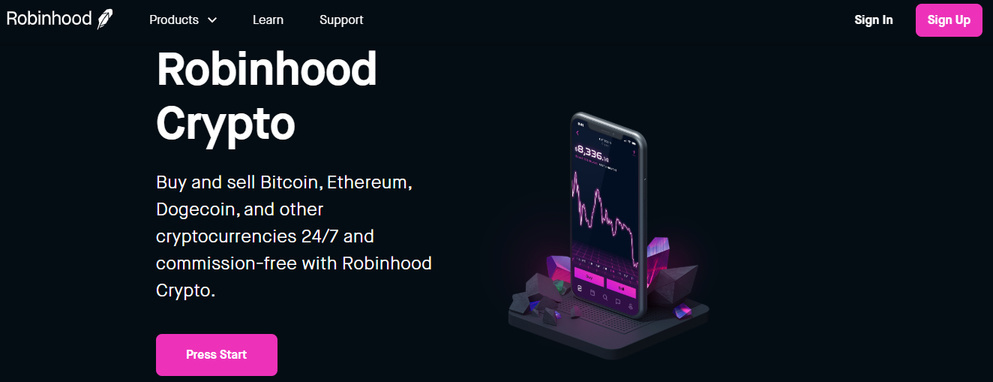 Robinhood Cryptocurrency Trading Page