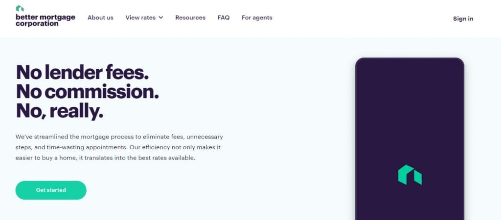 Screenshot of Better.com homepage with account opening section