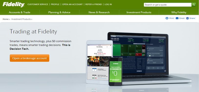 Screenshot of Fidelity Open a Brokerage Account Page