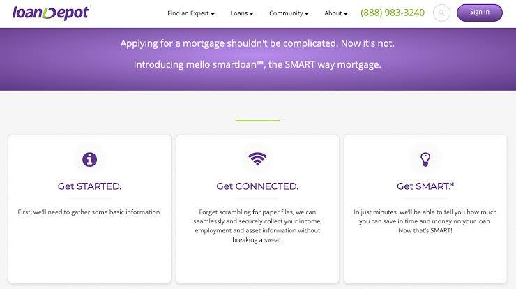 Screenshot of LoanDepot Mortgage Application Page