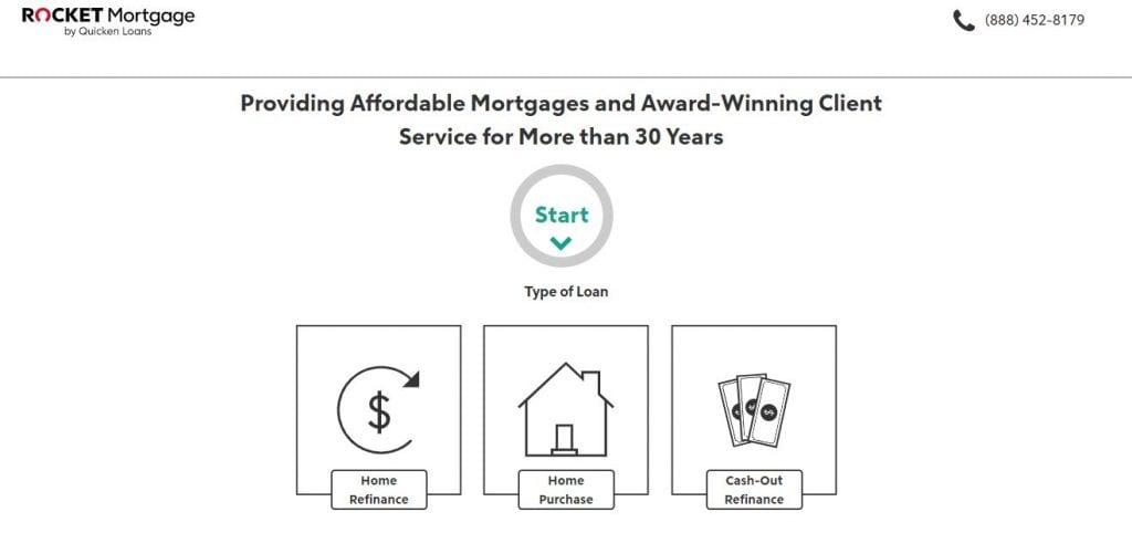 Screenshot of Rocket Mortgage Page