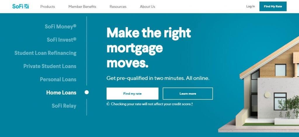 Screenshot of SoFi Mortgage Page