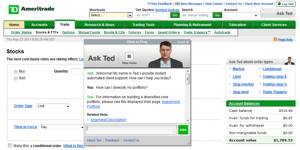 Screenshot of TD Ameritrade Ask Ted Support Page