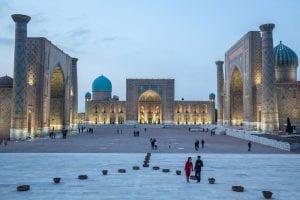 Buildings in Uzbekistan with people walking around