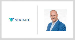 Security token company Vertalo company logo and CEO Dave Hendricks, a man wearing a blue suit
