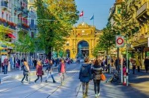Business District of Zurich, Switzerland with lots of people walking around
