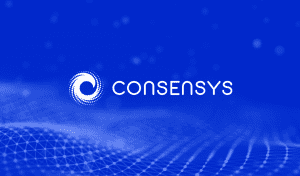 ConsenSys company logo in white with blue graphic image background