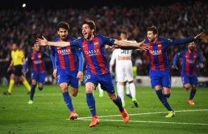 FC Barcelona player celebrating after scoring a goal