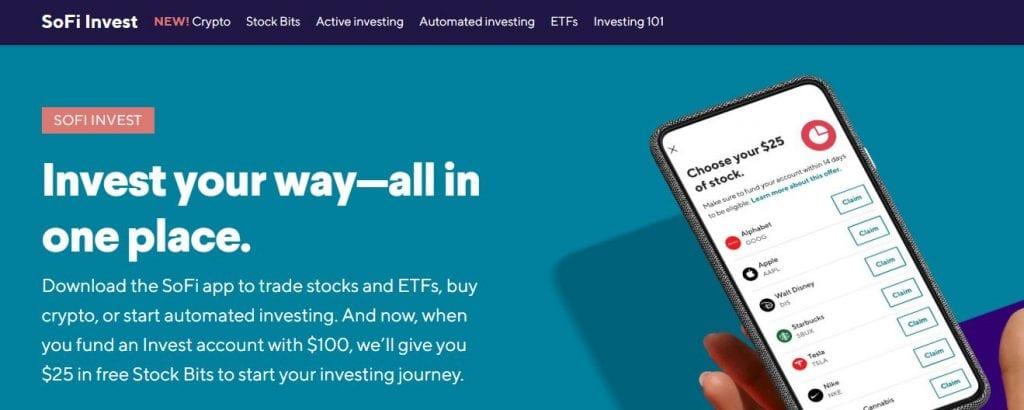 SoFi Invest Homepage Screenshot