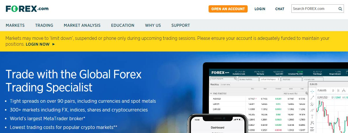 Forex.com page