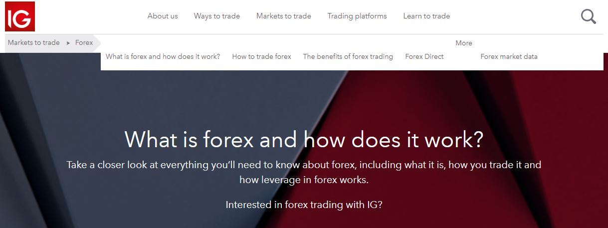 IG What is Forex Page