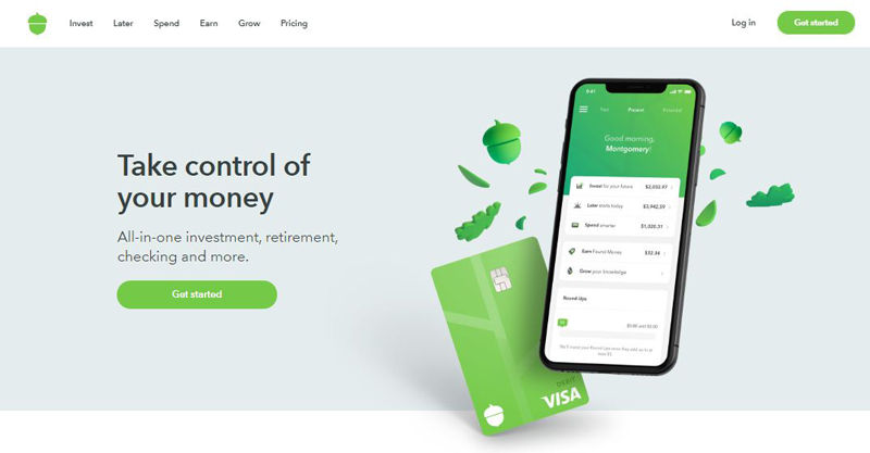 Screenshot of Acorns website homepage with Take control of your money banner showing a smartphone running Acorns app and Get started button