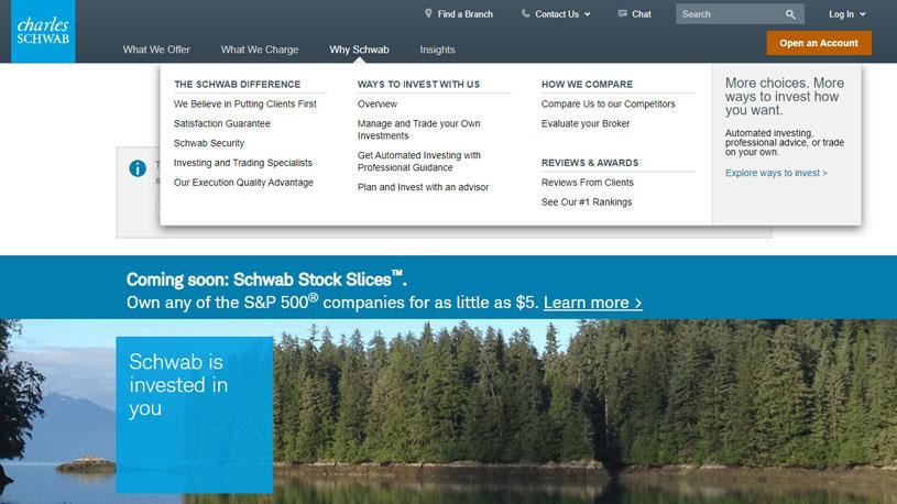 "Charles Schwab homepage with ""Why Schwab"" section selected"