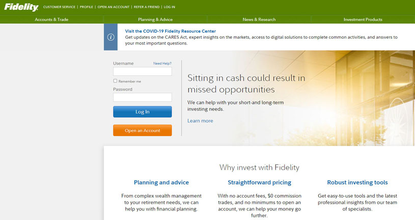 Fidelity website homepage with login section