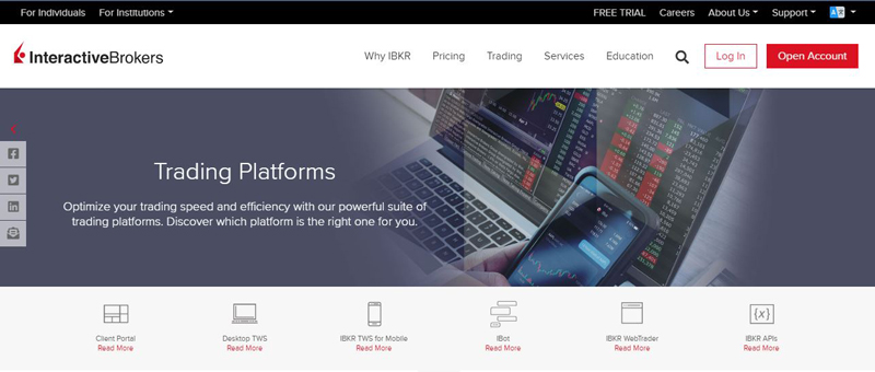 Screenshot of Interactive Brokers website homepage