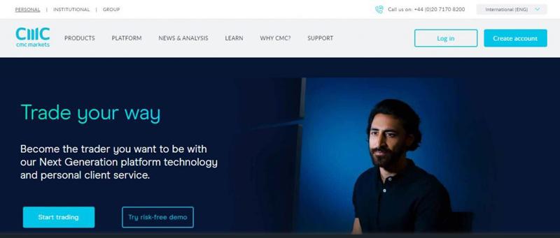 Screenshot of CMC Markets's website homepage
