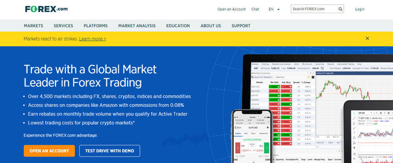 Forex.com homepage with account opening section