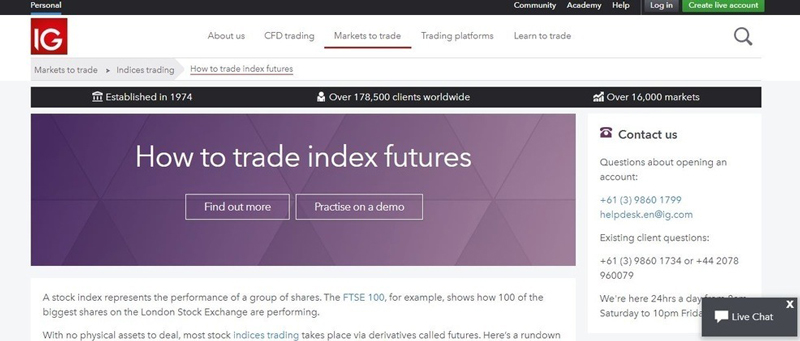Screenshot of IG website with  futures Trading Page selected