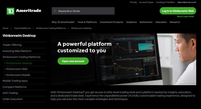 Screenshot of TD Ameritrade thinkorswim trading platform