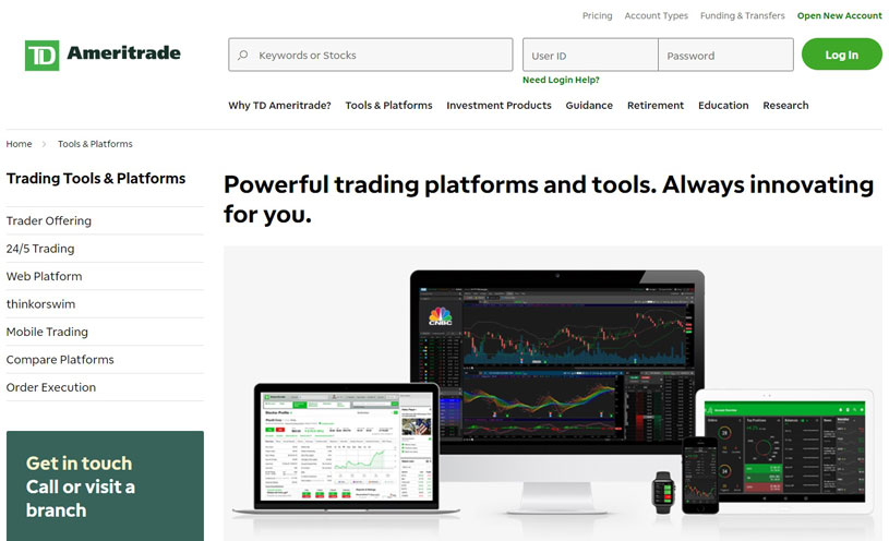TD Ameritrade website, tools and platforms page.
