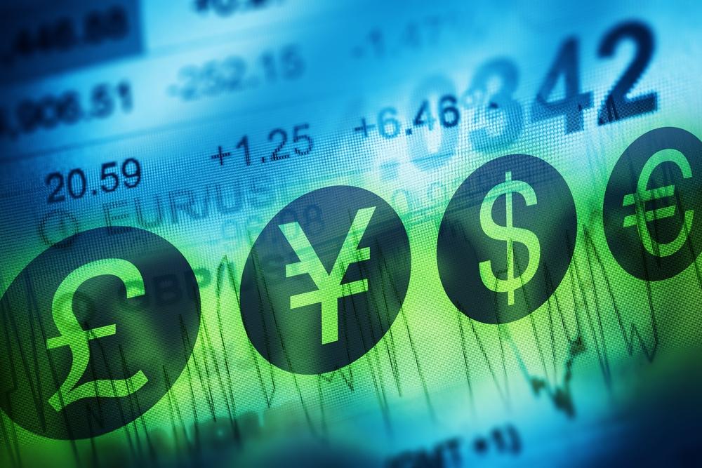Forex Trading, Pound, Yen, Dollar, and Euro currency simbols