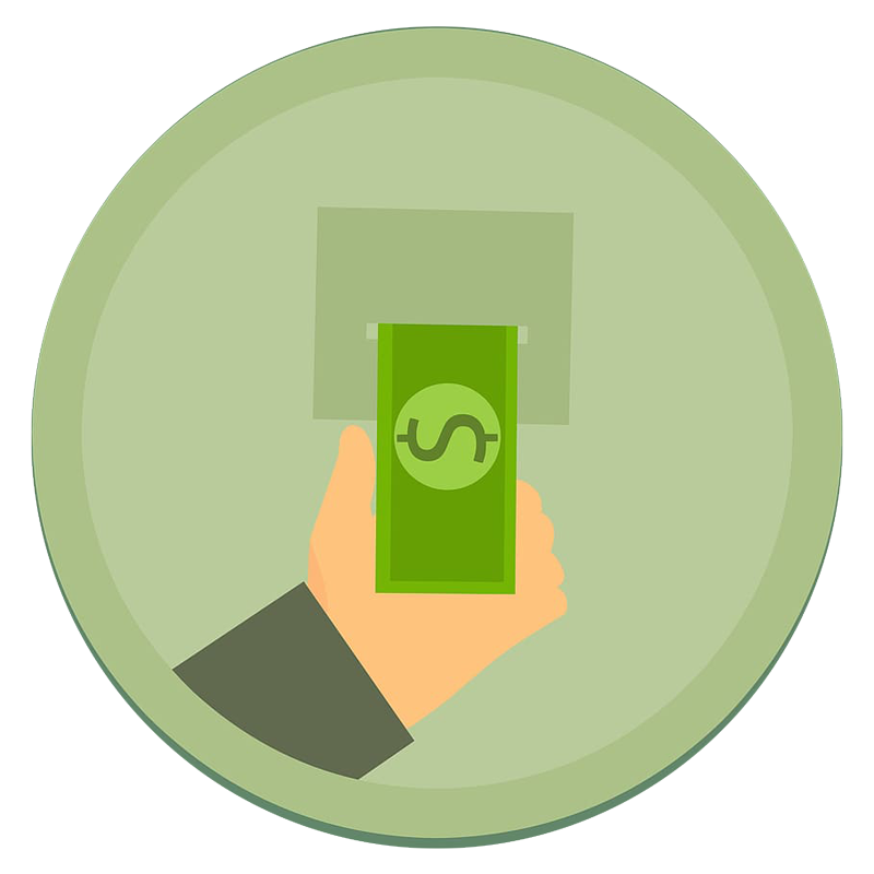 Illustration of a hand withdrawing cash