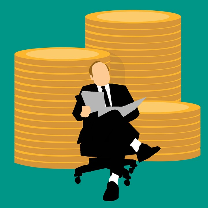 Illustration of money manager sitting in front of a pile of money