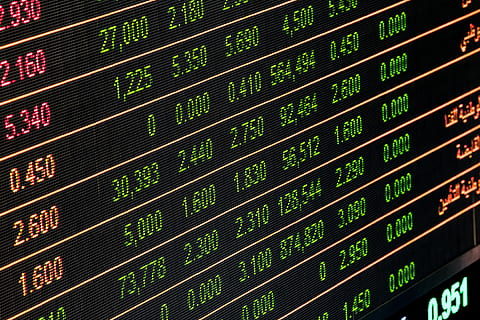 Picture of a display showing stock prices
