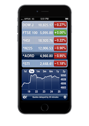 Smartphone running a trading app that displays stock list