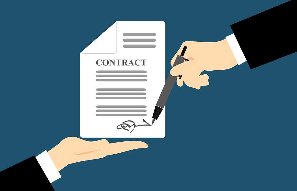 Illustration of two hands holding and signing a contract