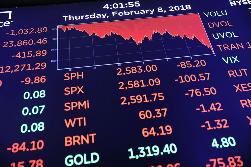 Picture of a display showing stock values