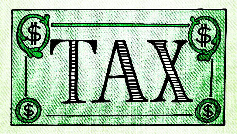 Image of a dollar bill with word TAX