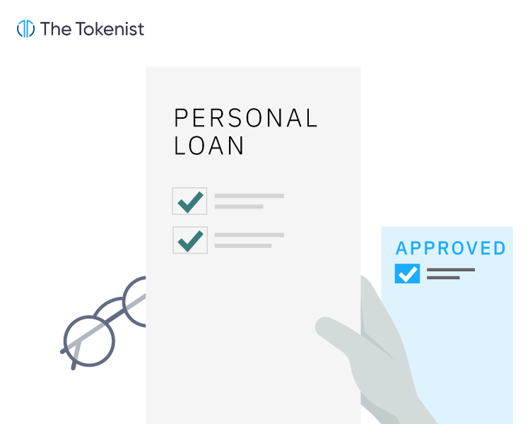 """The Tokenist vector illustration of a hand holding the personal loan application document with a paper with """"Approved"""" heading on the right and eyeglasses on the left."""