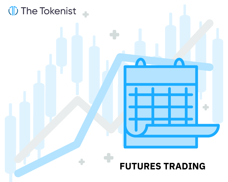 The Tokenist illustration of futures trading in general with a calendar and candlestick chart in off.