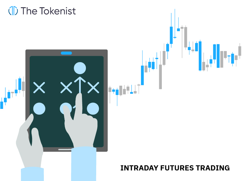 The Tokenist illustration of intraday futures trading with a hand using tablet and a candlestick chart in the background