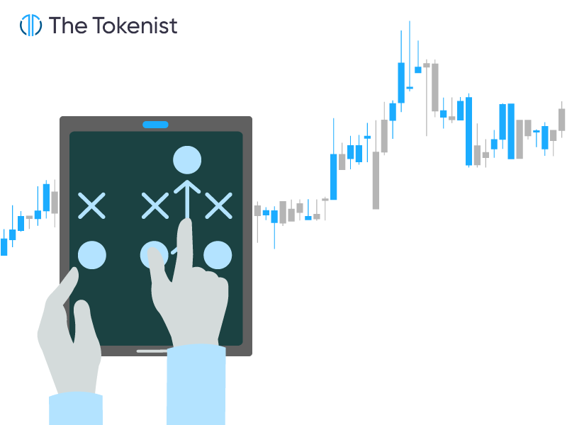 The Tokenist illustration of intraday futures trading with a hand working something on tablet and a candlestick chart in the background